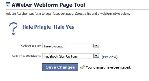 Choose the AWeber List and Webform for Your Page