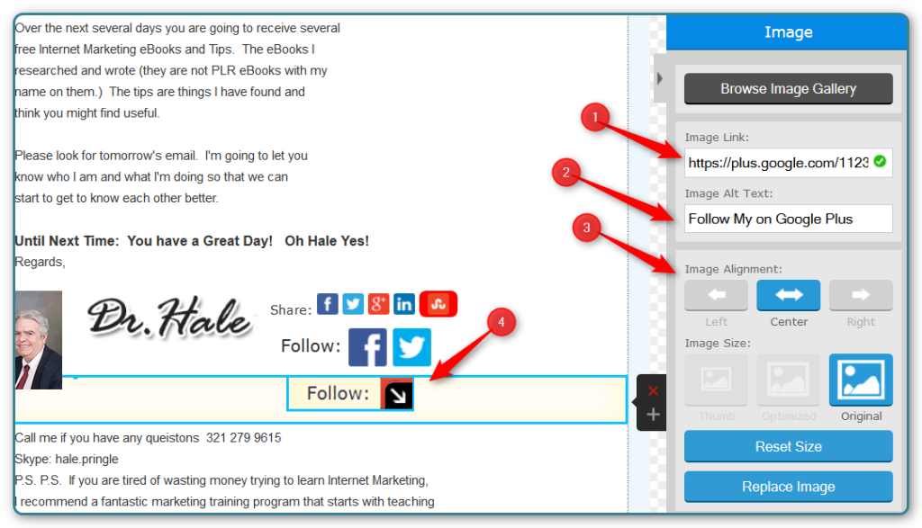 Add a Google Plus Follow Me Button to AWeber Emails
