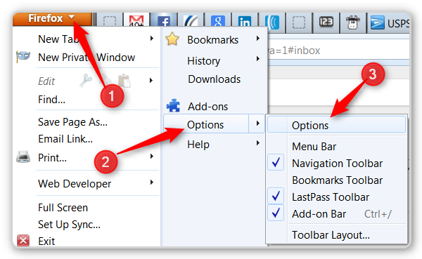 Firefox tips - options menu
