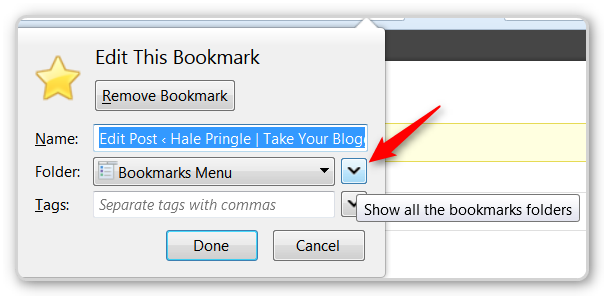 Firefoxtips - Create a new bookmark folder