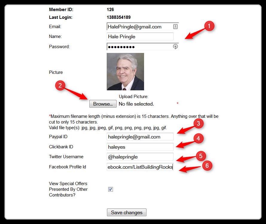 JV Giveaway - Edit Profile