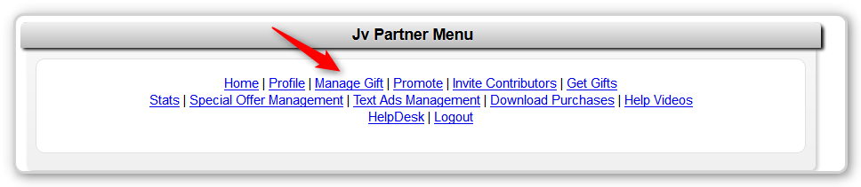 JV Giveaway - Give Management Menu Option