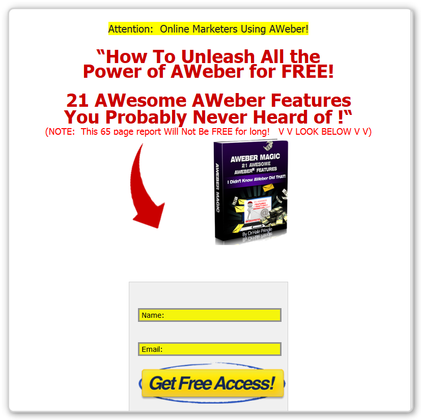 Squeeze Page for AWeber Magic - Free Offer Page - No Blog Header