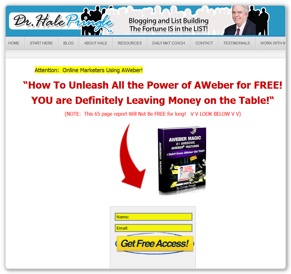 Squeeze Page - AWeber Magic - Free Offer Page - With Blog Header