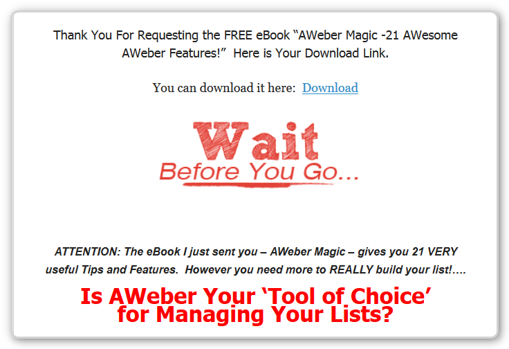 Sales Page - AWeber-Unleashed-After-AWeber-Magic-W-DL