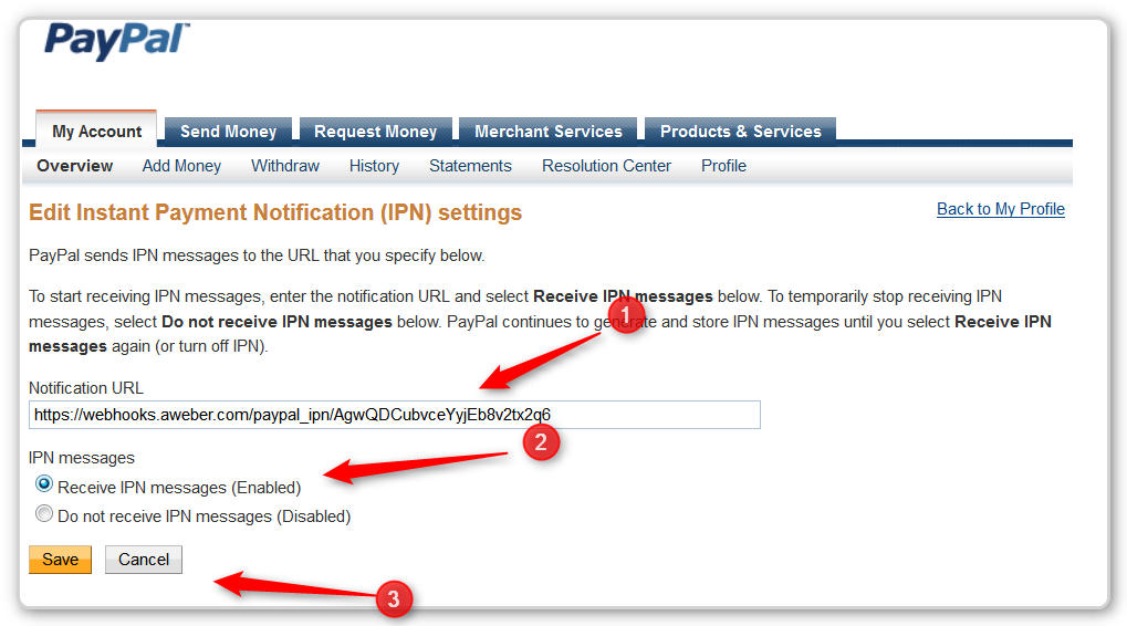 PayPal Button - Insert IPN NUmber