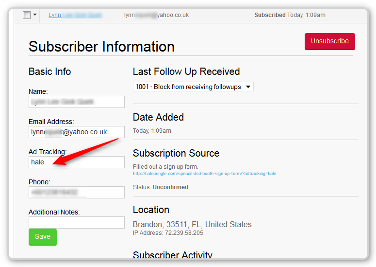 AWeber Tip- Ad Tracking Variable in Subscriber List