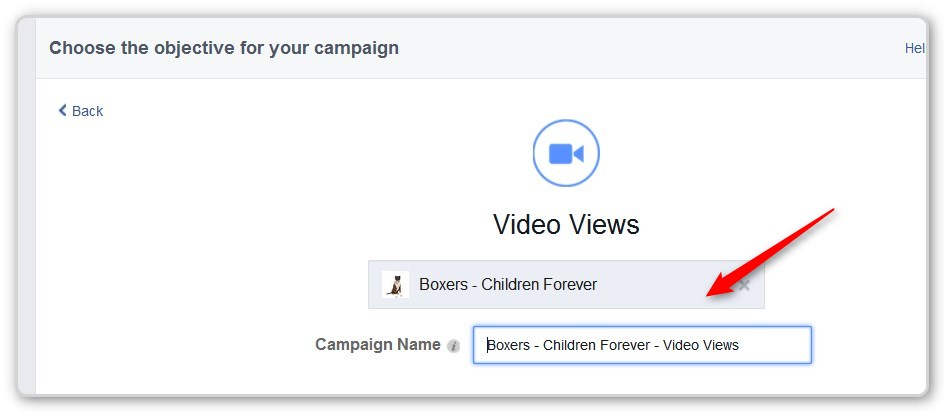 Facebook Video Ads - Choose a Fan Page