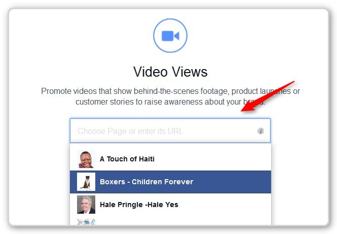 Facebook Video Ads - Pick a Fan Page