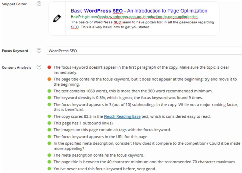 Wordpress SEO - Yoast SEO on my page